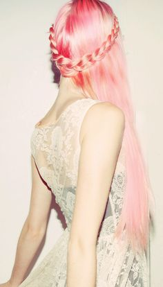 pretty faerytale pink #pink #hairextensions #hair #unusual #original #striking #hairstyles #haircolors #pastels #hairdo #extensions #braids