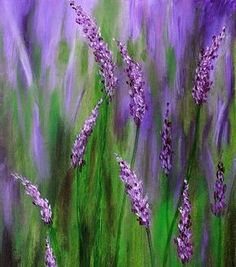 Beautiful purple flowers blended with green grass. acrylic-painting-ideas-12