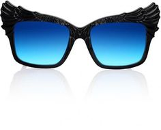 Black and blue acetate 'The Escapist' sunglasses from Anna Karin Karlsson. This item comes with a protective case. - Etched logo at temples - Square shape, plastic nose pads, full rim - Feature wings