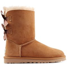 UGG AUSTRALIA Suede Bailey Bow Boots ($255) ❤ liked on Polyvore featuring shoes, boots, uggs, bow shoes, ugg® australia shoes, rounded toe boots, suede boots and suede leather shoes