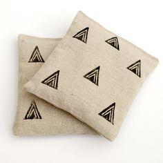 Triangle Block Print and Linen Organic Lavender Sachet Set