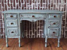 Blue hand painted chalk paint ornate shabby chic antique desk