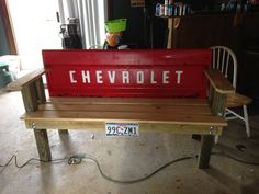 My boyfriend did a very strudy version of this tailgate garden bench for his dad.  He made 2 using Ford tailgates, and they get used more than the couch  inside the house.