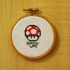 Mario Mushroom 'Grow up' Cross Stitch Hoop by HandmadeHandful, £5.00