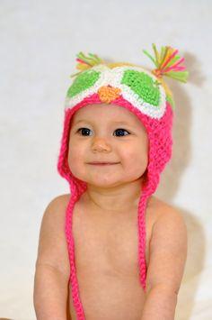 Rainbow Sherbert  Baby handmade Owl Hat by rgilliland on Etsy, $14.99
