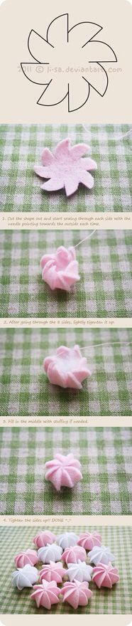 Felt cake tutorial- cream by ~li-sa on deviantART. Really clear, quick tutorial for making tiny cakes. They look more like little meringue cookies to me. Felt Diy, Felt Crafts, Fabric Crafts, Sewing Crafts, Diy Crafts, Flower Crafts, Diy Flowers, Fabric Flowers, Felt Flowers Patterns