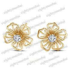 Yellow Gold On 925 Sterling Silver Round Cut White Diamond Flower Stud Earrings  #eighty #FlowerStudEarrings