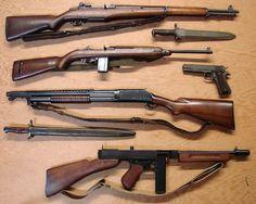 Garand - Carbine cal - Winchester 1897 Trench Gun -Thompson Sub Machine gun Colt 1911 Bushcraft, Rifles, Airsoft, Ww2 Weapons, Cool Guns, Assault Rifle, Military Weapons, Guns And Ammo, 2 Guns