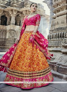 Yellow weaving work silk Lehenga Choli