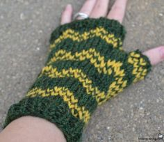 Knit these simple colorwork mitts with a fun zigzag pattern to keep your hands warm in a cold office or home.