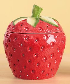 Take a look at this Large Strawberry Canister by Transpac Imports on #zulily today!