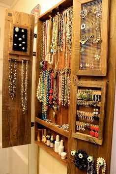 necklace holder and earring organizer jewelry armoire wall mount cabinet large gift for her - Jewelry Holder – Necklace – Cabinet – Wood – Wooden – Handmade – Furniture – 44 x 20 x - Jewelry Organizer Wall, Jewelry Cabinet, Wall Organization, Jewelry Armoire, Jewellery Storage, Jewellery Display, Jewelry Organization, Earring Storage, Earring Display