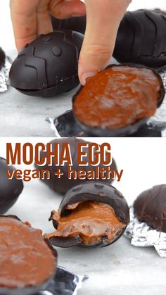 Mocha Chocolate Coffee Egg that's dairy free and healthy. Dark chocolate covers … Mocha Chocolate Coffee Egg that's dairy free and healthy. Dark chocolate covers a creamy cashew coffee filling. Super easy to make and tastes amazing Paleo Dessert, Dessert Oreo, Healthy Desserts, Dessert Recipes, Dinner Healthy, Eat Healthy, Recipes Dinner, Healthy Dark Chocolate, Mocha Chocolate