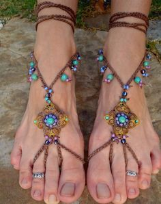 BAREFOOT sandals mustard yellow brown belly dance yoga foot jewelry