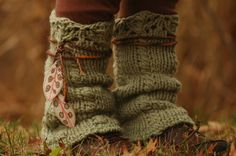 Acorn and Olyphant  Womens Wool Legwarmers Upcycled Feather Leaves Pixie Recycled Yarn Accessories Leg Warmers Sweater