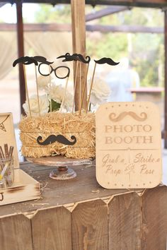 Rustic Photo Booth Sign Photo Props Engraved Wood by braggingbags Love the bale of hay idea to hold the sticks
