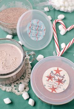 Peppermint Hot Chocolate Mix:  12 peppermint candy canes (6 ounces), broken into pieces  1 cup instant dry milk  3/4 cup packed light brown sugar  10 ounces good quality bittersweet chocolate or chocolate chips