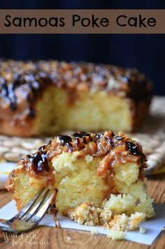 "Samoa Poke Cake Lots of Poke Cake recipes via ""ishouldbemoppingthefloor"""