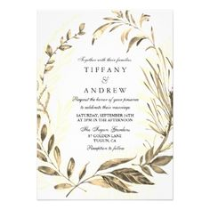Gold Forest Leaf Wreath Elegant Wedding Invitation - wedding invitations cards custom invitation card design marriage party