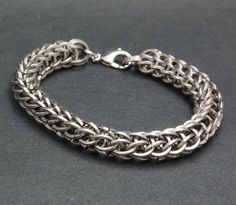 Stainless steel Full Persian chainmaille bracelet, 18g square wire rings. $50