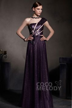 Queenly Sheath-Column One Shoulder Floor Length Sequin Evening Dress COSF1402CCocomelody#promdresses#formalpartydress#