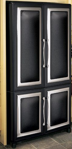 Model 1898 / 1899 shown in Black with optional Nickel Door Frames might as well put the fridge that matches Kitchen Stove, Kitchen Appliances, Kitchens, Home Building Design, Building A House, Slide Out Shelves, Copper Handles, Metal Trim, French Door Refrigerator