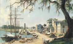 John Stobart - Darien: On the Georgia Tidewater Loading Sea Island Cotton c. 1862. Limited edition print from original the oil painting. Size: 17 1/2″ x 30″ Edition: 500  -- on ScrimshawGallery.com #JohnStobart #Stobart