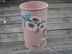 Vintage Retro Pink Trash Can Hand Painted by willowpaige on Etsy, $18.00