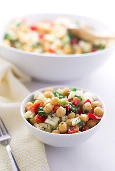 Chickpea Fennel Red Pepper Salad: chickpeas, fennel, red peppers, scallions, and Parmesan cheese tossed in an olive oil-cumin dressing. So quick and nutritious!   TrufflesandTrends.com