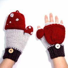whimsebox:  Handmade mushroom mittens on Etsy