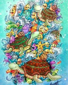 E aí vão as minhas tartaruguinhas Doodle. #doodle #doodleart #doodles…