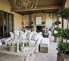 Whenever I see nicely furnished outdoor patios, I think they must be in an area that never has storms or rain. Even the covered patios have me wondering, because I have seen plenty of covered patios drenched with heavy rains! Outdoor Areas, Outdoor Rooms, Outdoor Living, Outdoor Decor, Outdoor Stone, Party Outdoor, Outdoor Seating, Outdoor Lounge, Indoor Outdoor