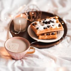 Love this still light vignette with milky coffee, waffles, and a baked spice votive candle all pilled up on a warm wooden tray. Bulk Candles, Votive Candles, Scented Candles, Miniature Bottles, Candle Set, Plant Based, Waffles, Spice, Fragrance