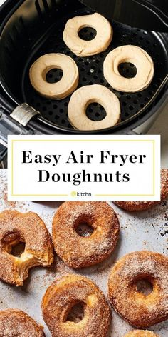 Easy Air Fryer Donuts Recipe Looking for recipes and ideas for desserts to make in your air fryer These doughnuts are made with storebought biscuits in a can or tube Cinnamon sugar recipe included but they d also be great glazed Air Fryer Recipes Potatoes, Air Fryer Oven Recipes, Air Frier Recipes, Air Fryer Dinner Recipes, Air Fryer Recipes Donuts, Beignets, Donut Recipes, Gourmet Recipes, Healthy Recipes