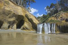 Discover a beautiful hidden waterfall on this spectacular, little-known beach in Oregon.