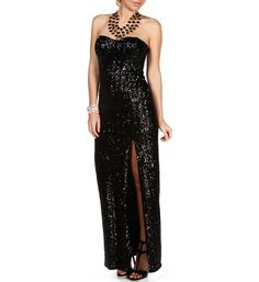 Miki- Black Sequin Long Prom Dress