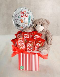 Buy Get Well Kit and Teddy Box Online - NetFlorist Gift Bouquet, Candy Bouquet, Balloon Bouquet, Birthday Hampers, Birthday Gifts, Chocolate Flowers Bouquet, Valentines Gift Box, Flower Box Gift, Candy Crafts