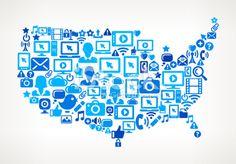 U.S. Map on vector technology pattern Background Royalty Free Stock Vector Art Illustration