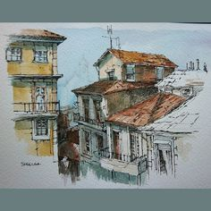 https://flic.kr/p/BWVty3 | Urbansketch, Painted on location in Porto Portugal. A view looking out from the Porto Cathedral. #landscape #art #original #watercolor #winsorandnewton #watercolour #painting #paintingaday #penandink #waterbrush #urbansketch #urbansketchers #urbansketcher | Peter Sheeler Art