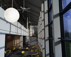A Sphere and Pavos at the SPI Lighting offices Led Fixtures, Pendant Light Fixtures, Pendant Lighting, Decorative Lighting, Barbican, Office Lighting, Light Decorations, Offices, Architecture Design