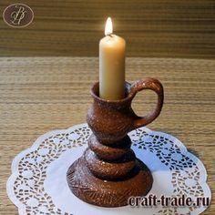 Высокий керамический подсвечник APACHE из натуральной глины, содержащей слюду - гончарная керамика, ручная работа купить в интернет магазине Рукоделец