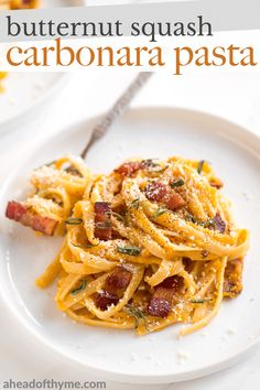 If you like traditional carbonara, you are going to love creamy butternut squash carbonara pasta with Parmesan, bacon and sage. This winter squash pasta is the best fall comfort food. | aheadofthyme.com #butternutsquash #carbonara #butternutsquashpasta #wintersquash #pasta via @aheadofthyme Pasta Dinners, Lunches And Dinners, Meals, Meal Ideas, Dinner Ideas, Dinner Recipes, Food Prep, Meal Prep, Butternut Squash Pasta