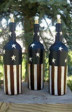 Tiki Torch Wine Bottle Independence Day by PurposefulRepurpose