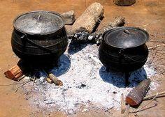 Swaziland photo, Cooking fire in Swazi cultural village - near Manzini Swaziland