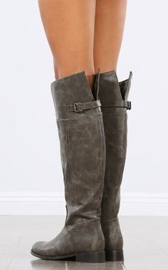 Taupe suede boots with chic buckles | Sole Society Hollyn | Shoes ...