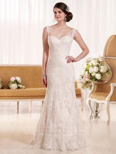 Sheath Straps Lace Wedding Dress with Low Back