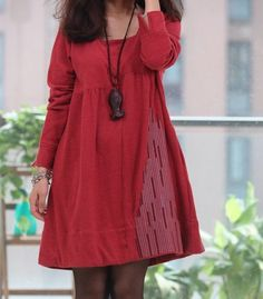 2/3 color/ Red Long Skirt / Casual Skirt/Cotton by Eloneeclothing, $59.99