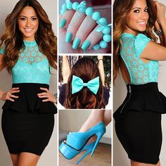 Vestido negro y azul
