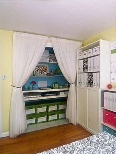 Save space by eliminating the closet doors. Perfect in a spare bedroom turned craft room!