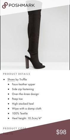 Truffle Peep Toe Over The Knee Heel Worn once. Tiny scuff on right heel. ASOS Shoes Heels